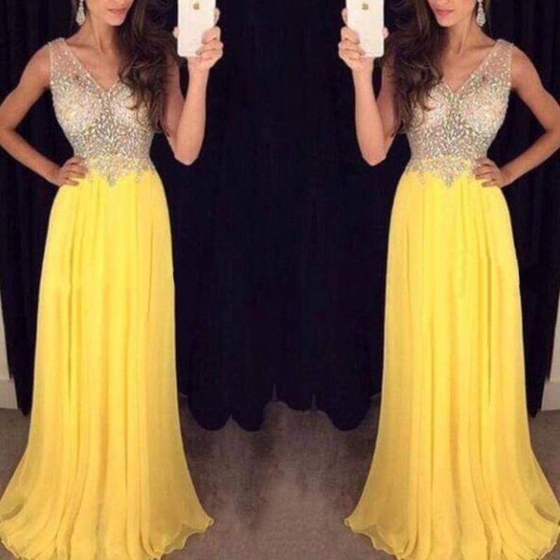 Crystal Beaded Illusion Bodice Prom Dress, Yellow Chiffon Prom ...