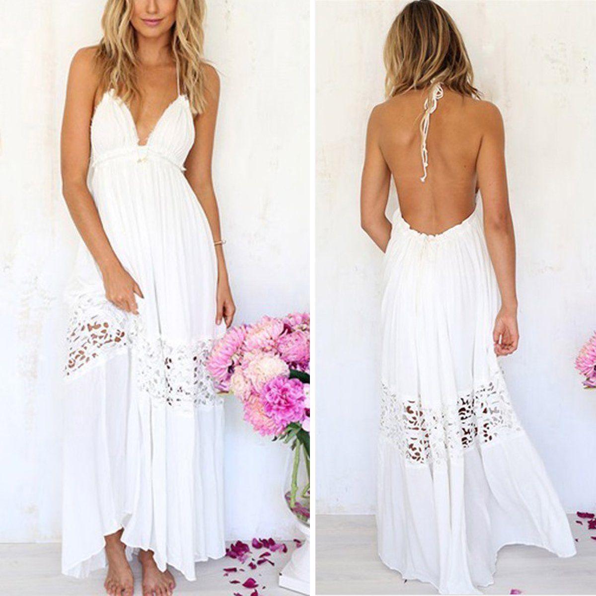 079ea5b14c Sexy Women Summer Boho Lace Long Maxi Evening Party Dress Beach ...