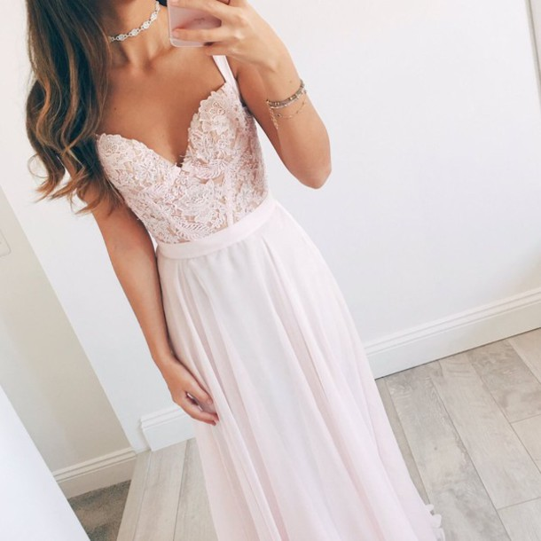 Pink sweetheart long prom dresses,sweetheart A-line lace long prom ...