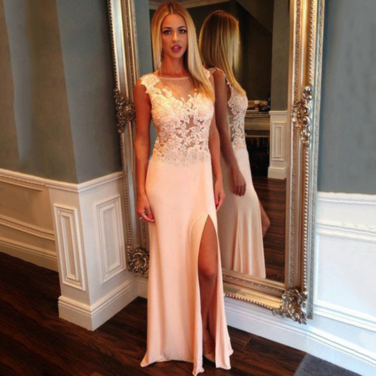 Floral Lace Illusion Prom Dresses with Side Slit, White