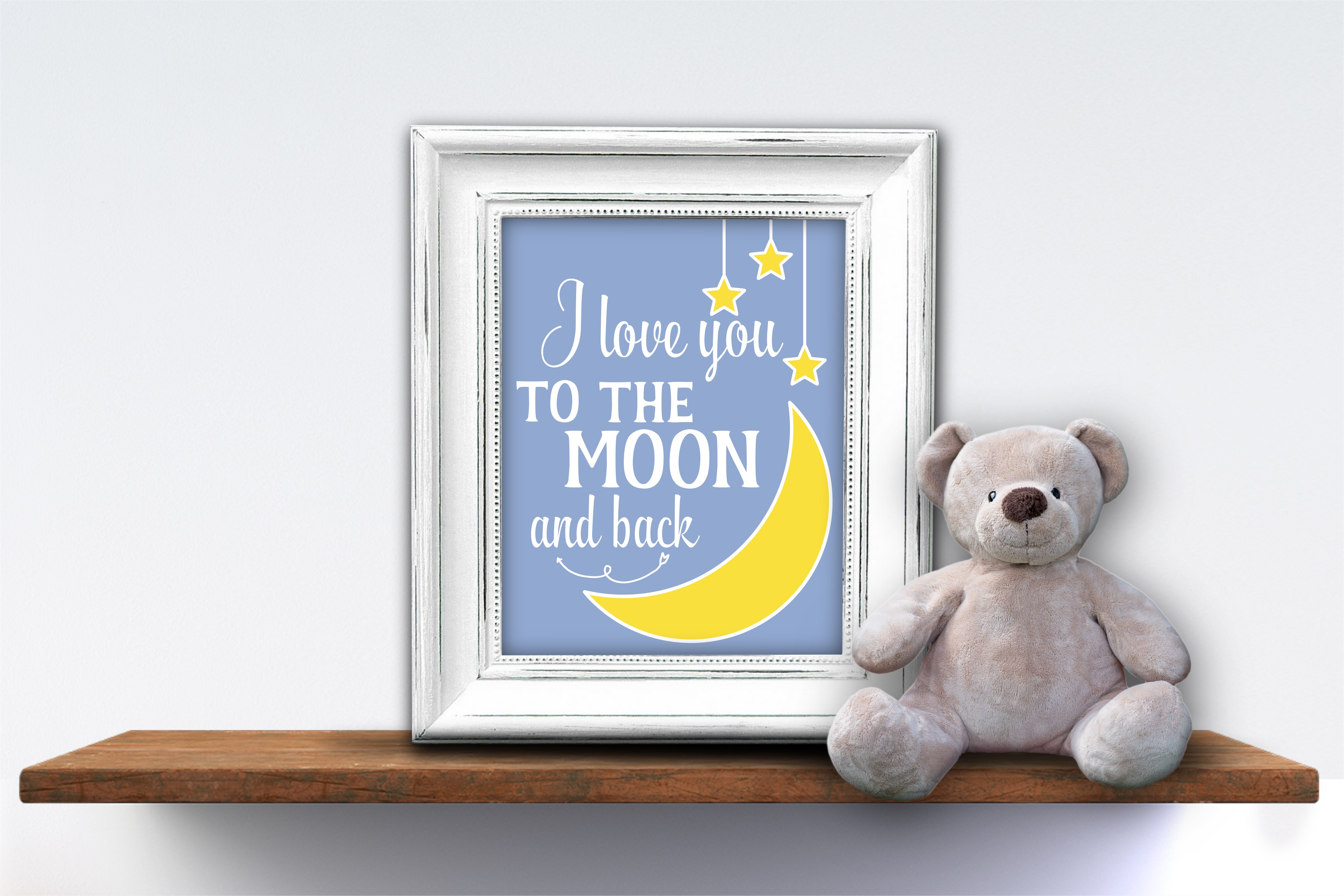 Moon And Stars Nursery Wall Art Baby Shower Gift I Love You