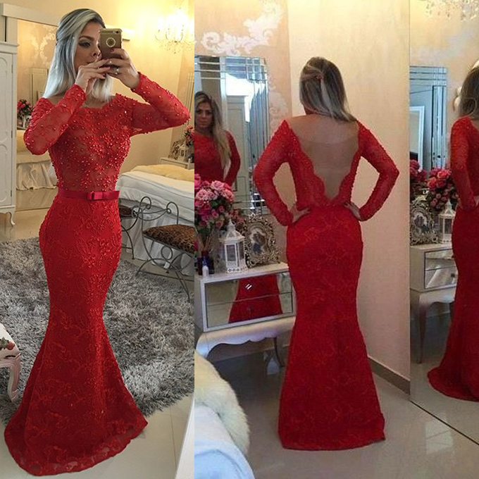 cbb6a0865a65f8 Red Prom Dress with Beaded Long Sleeves, Sexy V-Back Prom Dresses, Lace