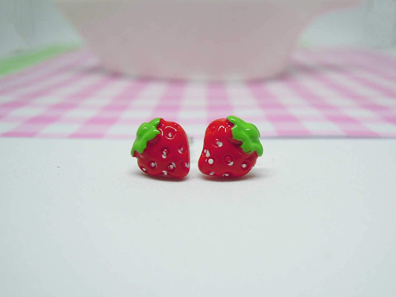 Miniature Cute Strawberry Polymer Clay Food Stud Earrings