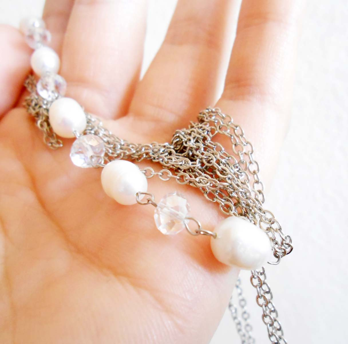 Body Chain With Pearls Beads Crystals Thin Chain Body Jewelry