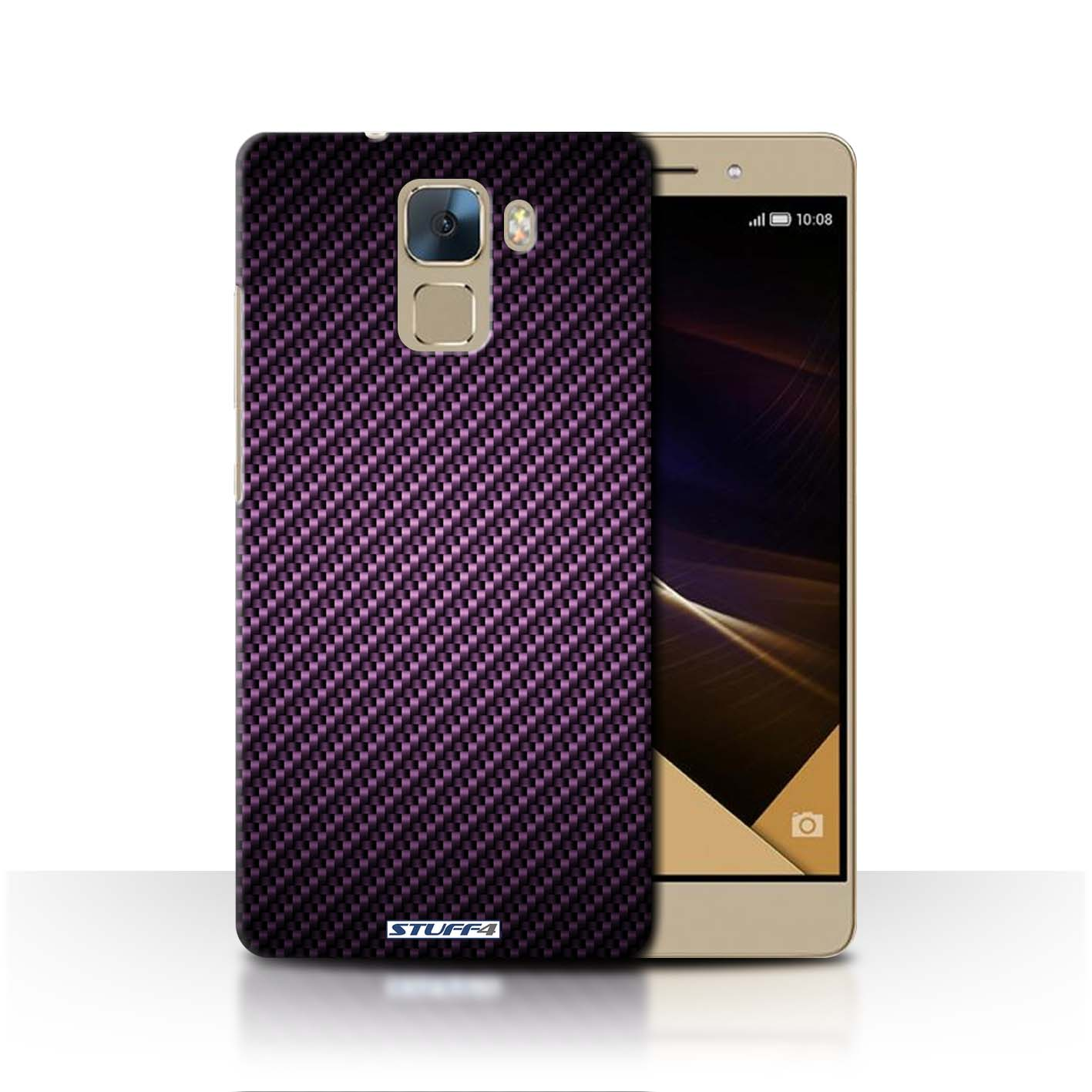 brand new 80669 e9b67 Mobile Cases & Covers / Protective Hard Back Case for Huawei Honor 7 /  Carbon Fibre Effect/Pattern Collection / Purple