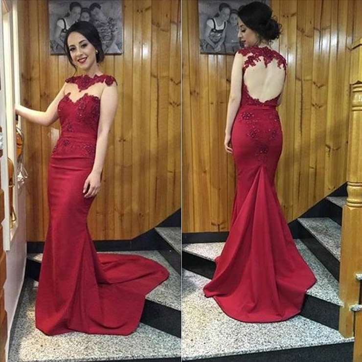 22f1e9957cd9 Burgundy prom dresses with lace appliques open back prom dress with sweep  train high neck mermaid