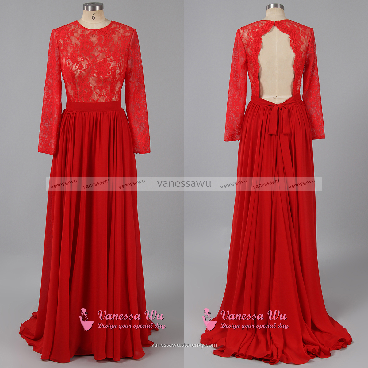 Long Sleeve Red Prom Dresses, Trendy Open Back Prom ...