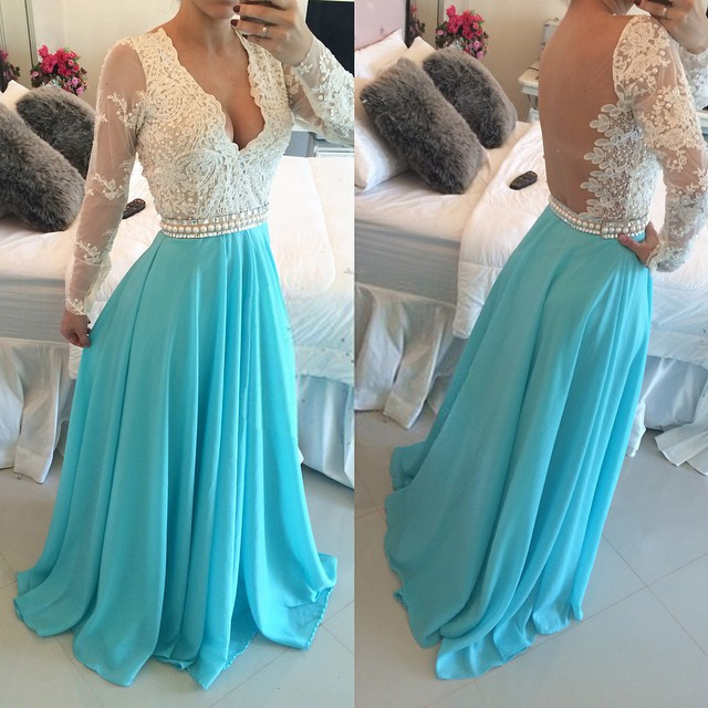 c357ab9c02 New style plunge v neck prom dress two toned long sleeve prom dress floor  length lace
