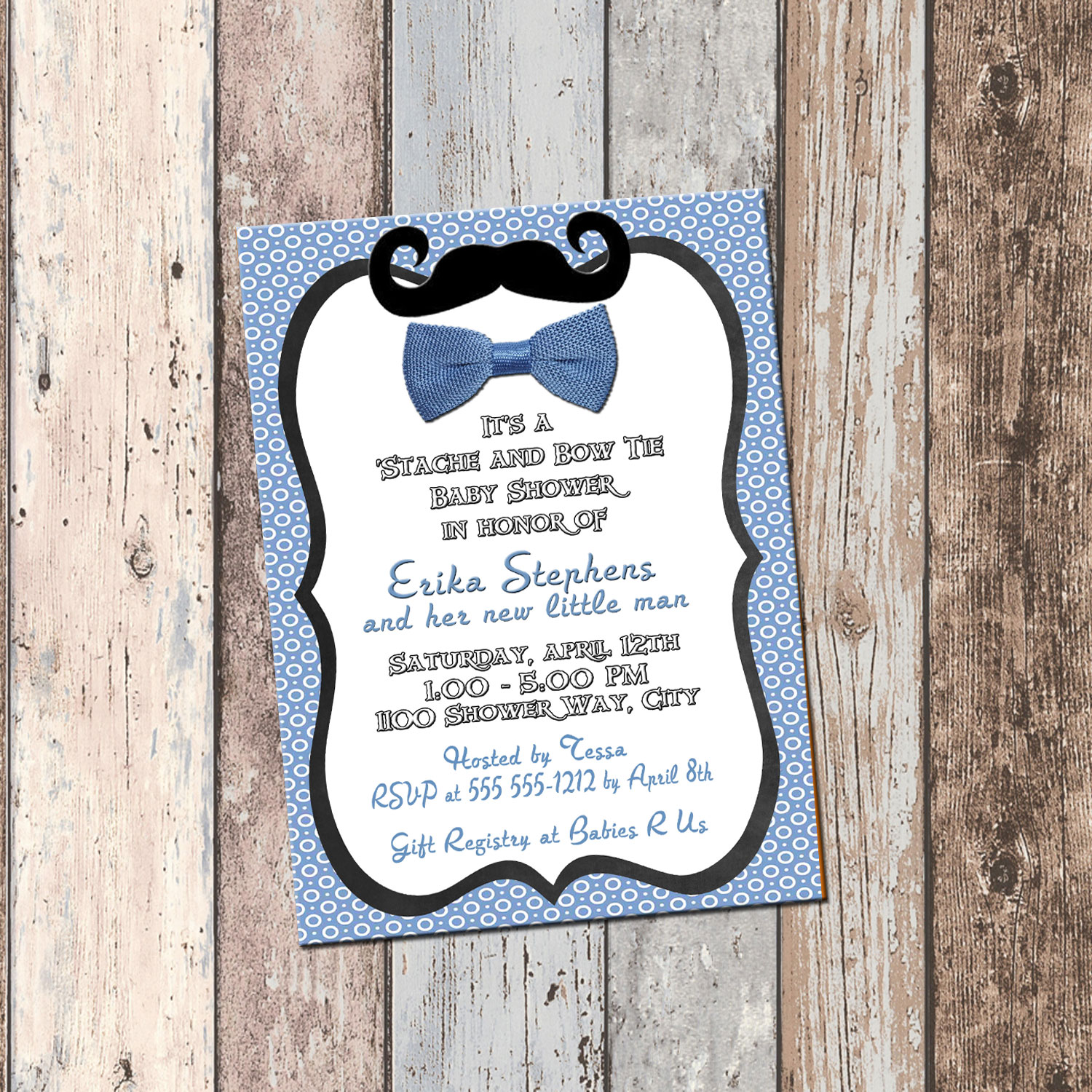 Moustache & Bow Tie Baby Shower Invitation-1 Sided