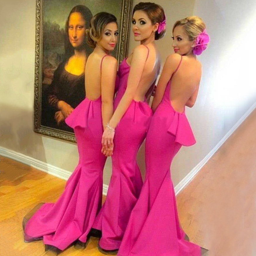 87770d5281f6 Sexy backless bridesmaid dress with ruffles hot pink mermaid bridesmaid  dress with sweep train halter bridesmaid