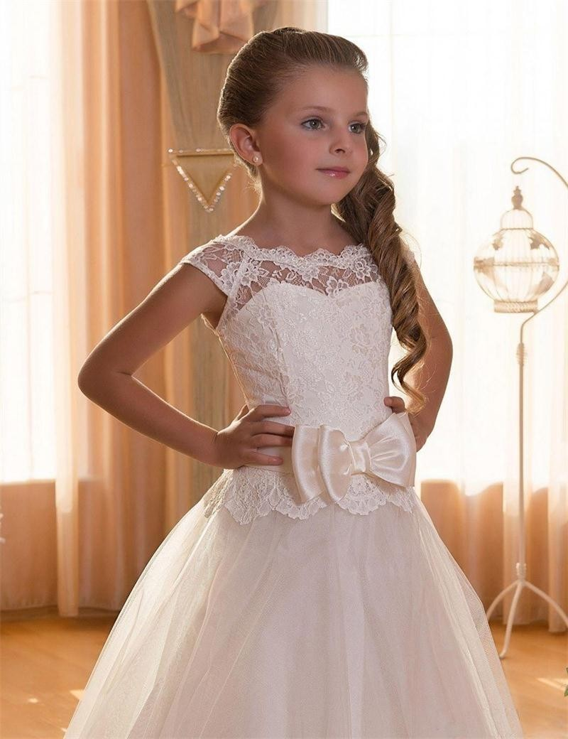 First Communion Dresses For Girls Scoop Backless Appliques Bow Ball ...