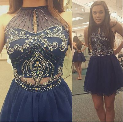 18662d49d5e High Neck Halter Homecoming Dresses