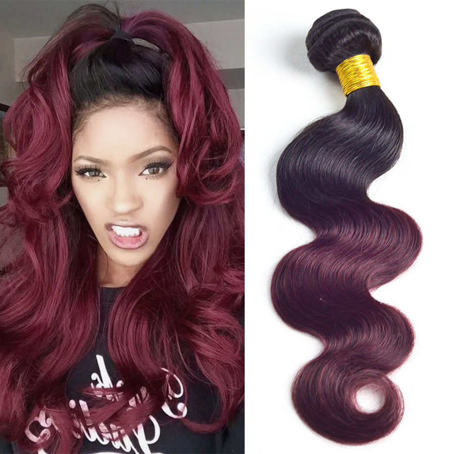 Ombre 1bburgundy Virgin Brazilian Body Wave Weaves On Storenvy