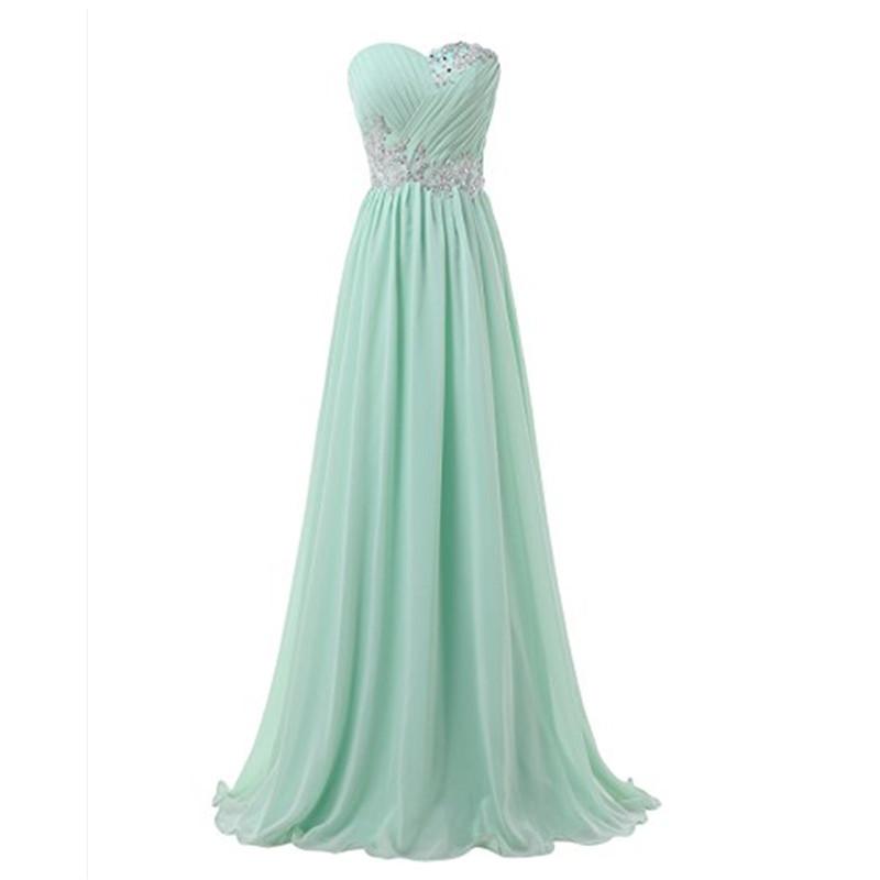 Mint Green Long Prom Dress,chiffon prom dresses,beaded evening ...