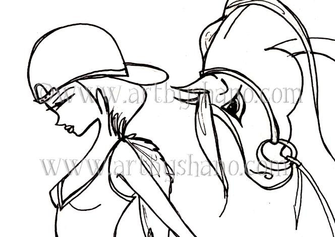 Instant Digital Download Print your Own Coloring Book Page Sheet of Arabian  Horse SHANO Fashion Illustration for Relaxation or Anxiety sold by Art by  ...