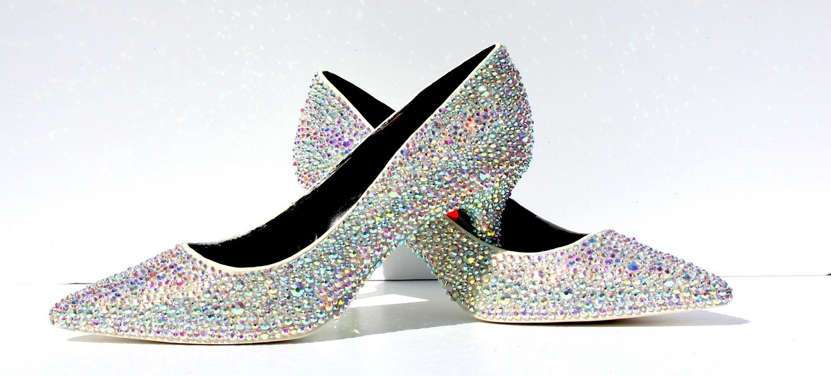 Wedding Kitten Heels: Crystal AB Kitten Heels: White Wedding Shoes, Low Heel
