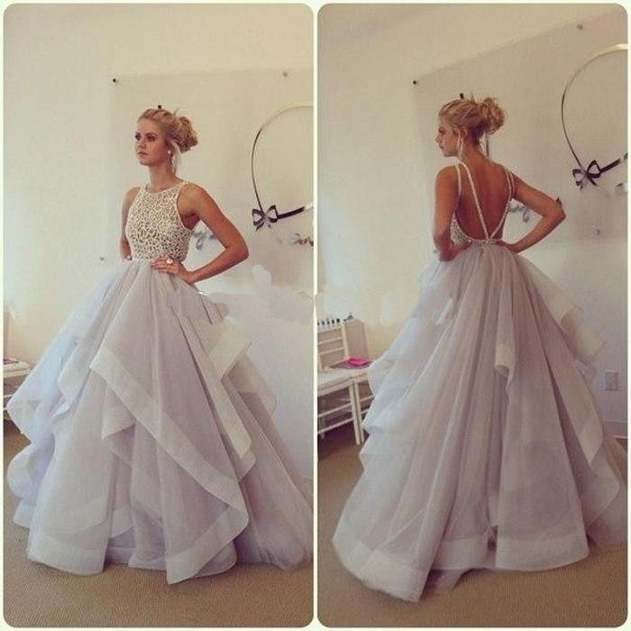 Backless Long Prom Dresses,Custom Made Sleeveless Prom Ball Gown ...