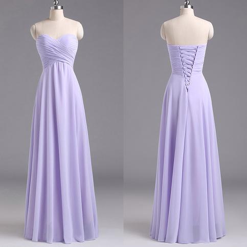 Sweetheart Lavender Bridesmaid Dresses Chiffon Floor Length Bridesmaid Dress With Ruching
