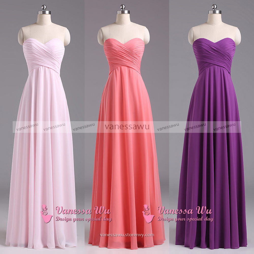 Sweetheart Lavender Bridesmaid Dresses, Chiffon Floor-length ...