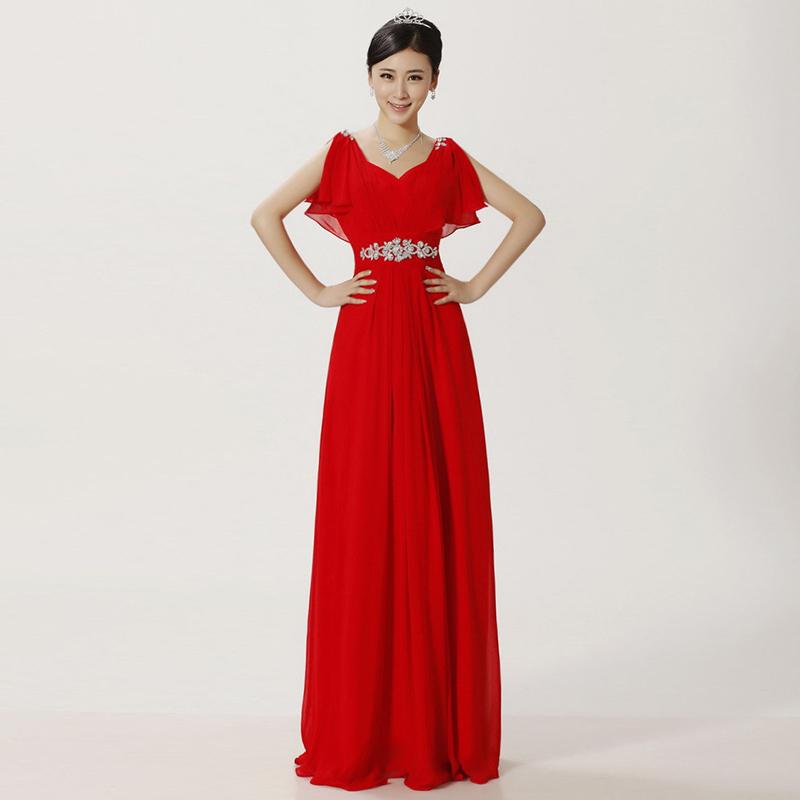 Free Shipping Elegant Women V Neck Rhinestone Long Chiffon Prom ...