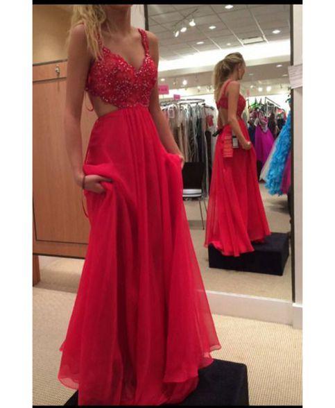 d3522b83c2d Red A-line prom dresses