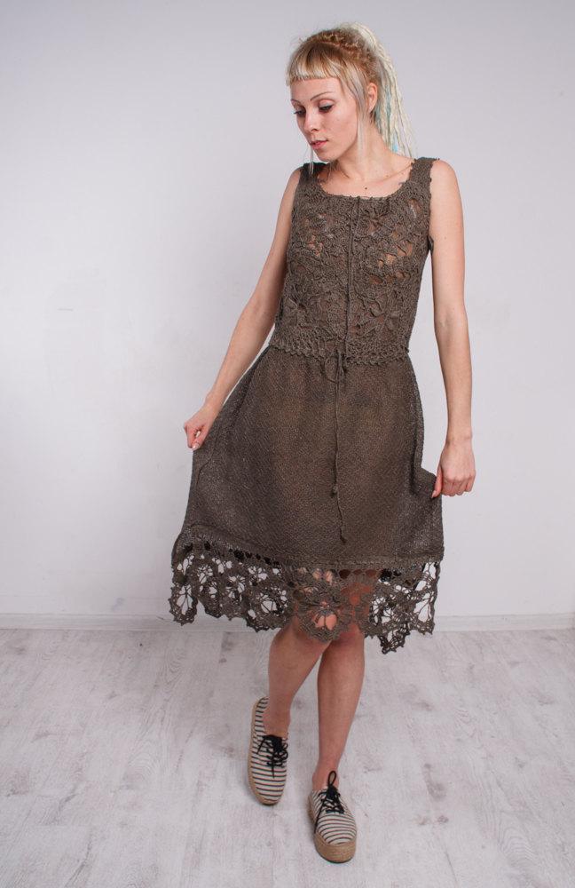 11719504b66 Crochet dress linen midi sundress handmade lacy dress cocktail ...