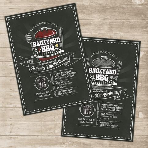 Backyard Bbq Invitation Grill Cookout Invite Family Picnic