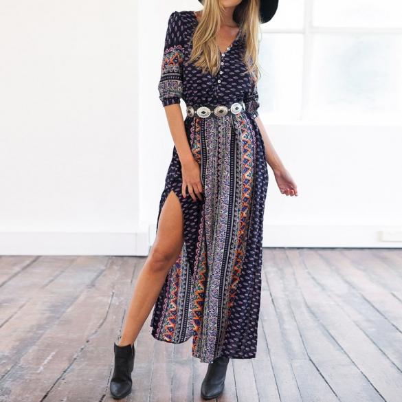 Aztec Print Ankle Length Dress