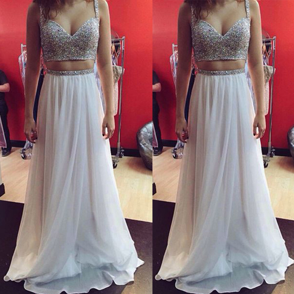 diy prom dresses,White A-line Straps Floor-length Chiffon Evening ...