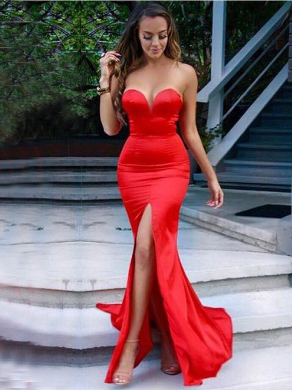 c174a1ddcc6f sexy prom dresses,Red Trumpet Mermaid Sweetheart Sweep Brush Train ...