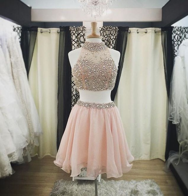 ccfe7c00baa Pretty Two Pieces Pink Homecoming Dresses For Teens
