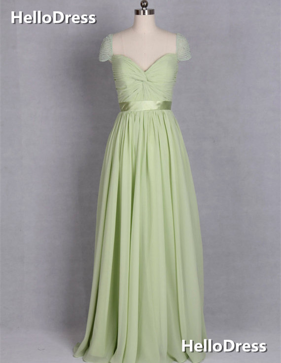 Long Mint Chiffon Formal Occasion Dress with Beaded Cap Sleeves ... 85ba043ce