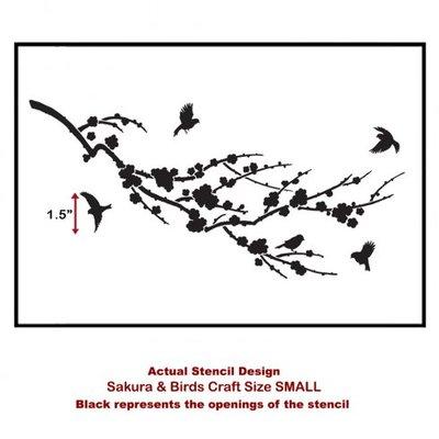 Size MEDIUM Sakura /& Birds Craft Stencil By Cutting Edge Stencils