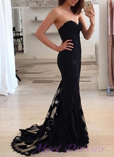 Modest Black Prom Dress Lace Bodice Sexy Mermaid Evening
