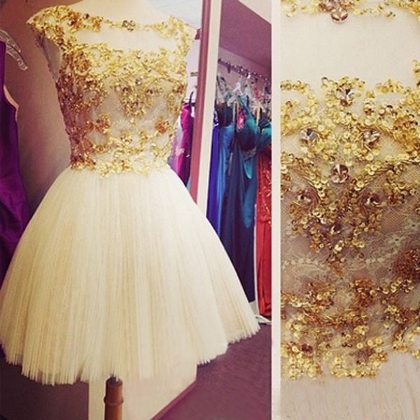 diy prom dresses,Gold A-line Scoop Short Mini Tulle Homecoming Dress ...