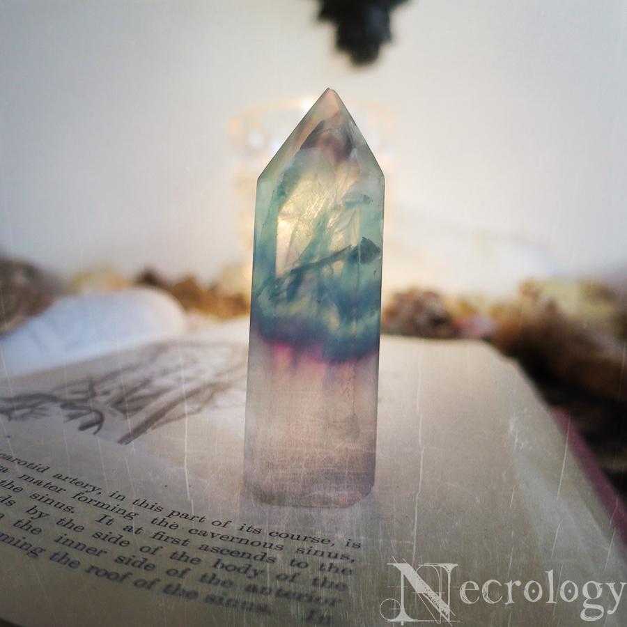 Fluorite Point, Crystal Tower, Crystal Healing, Metaphysical, Chakras from  Necrology