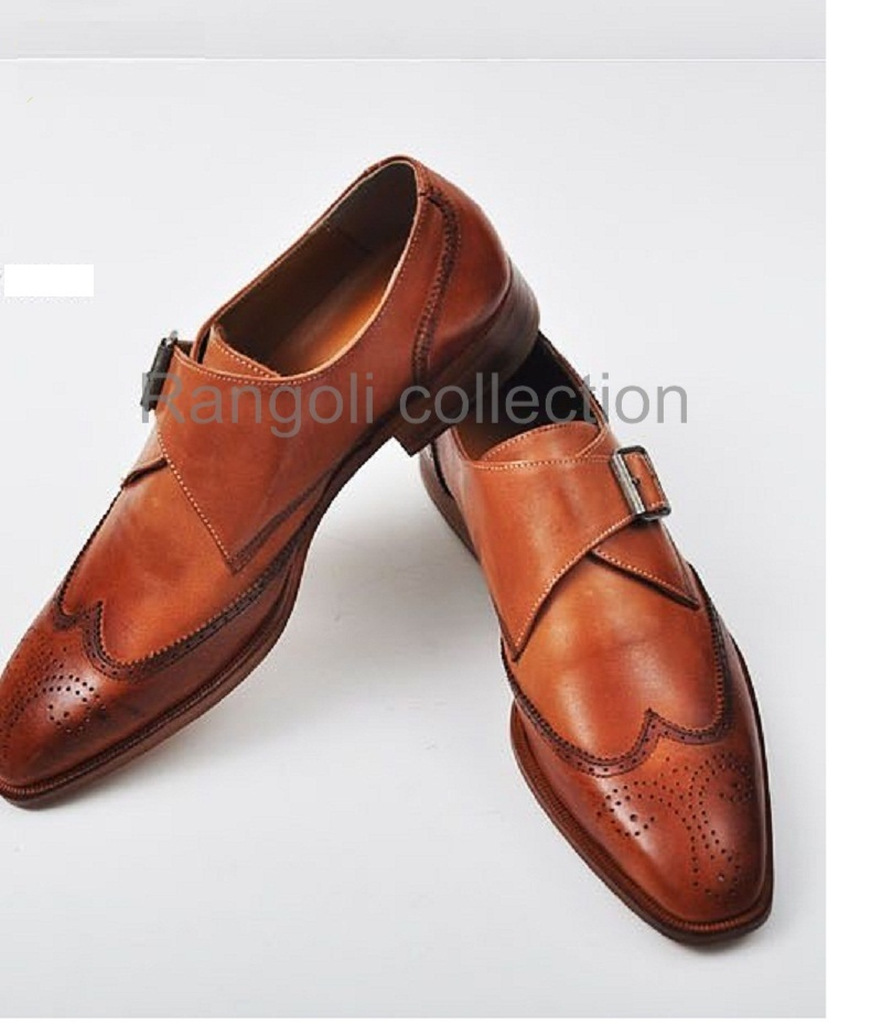 Handmade men Tan color dress shoes, Mens leather monk shoes, Mens formal  shoes from Rangoli Collection