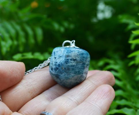 Apatite Necklace Blue Stone NecklaceGem Reiki Healing