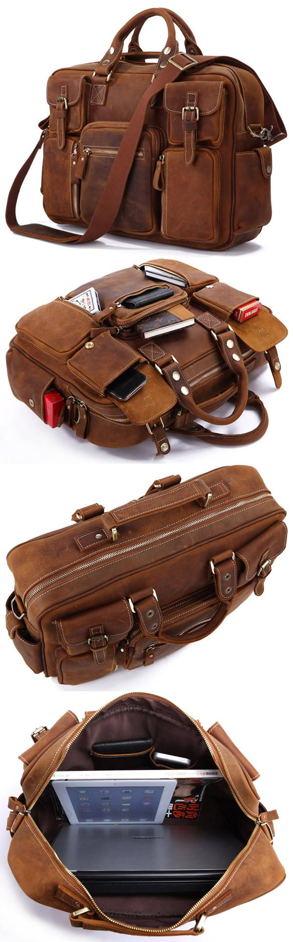 Well known Large Handmade Vintage Leather Travel Bag   Leather Messenger Bag  NW73 d5912844c6