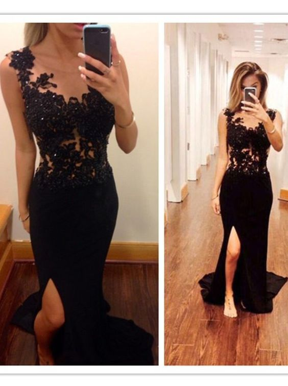 Charming prom dress with slit bf7a7f744