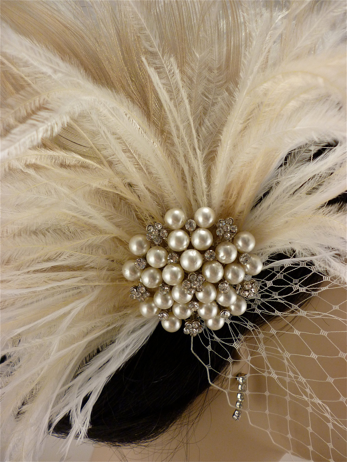 Champagne and Natural Peacock Bridal Headpiece Wedding Veil Holly/'s Old Hollywood Rhinestone Pearl Bridal Feather Fascinator Ivory