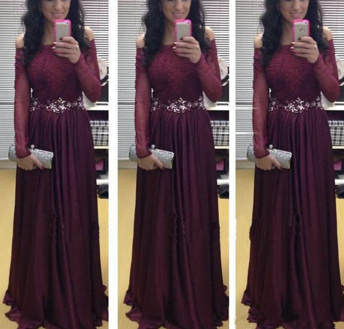 Long Sleeve Lace A-Line Prom Dresses,Long Evening Dresses,Prom ...