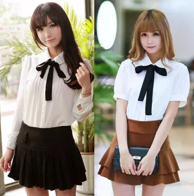 53940a692c7 Cute students bowknot tie sweet chiffon blouse · Sanrense · Online ...