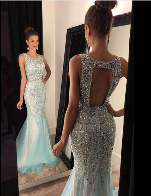 Sweetheart Girl Unique Round Neck Backless Sequin