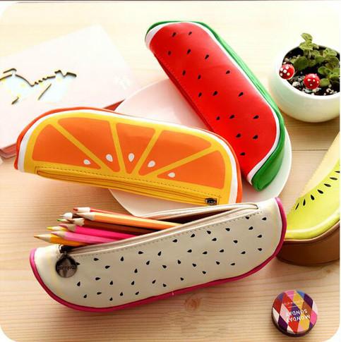 Korean Stationery Fruit Pen Pouch Pencil Pouch Leather