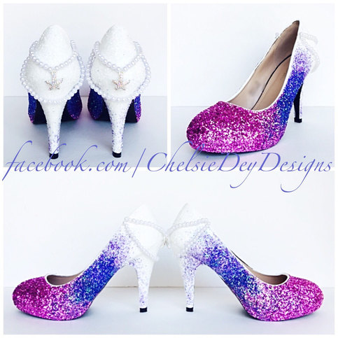 48466240da20 Glitter High Heels - White Pink Lavender Lilac Ombre Fade Pumps - Mermaid  Starfish Pearl Heels - Sparkly Wedding Shoes- Glitter Prom Heels on Storenvy
