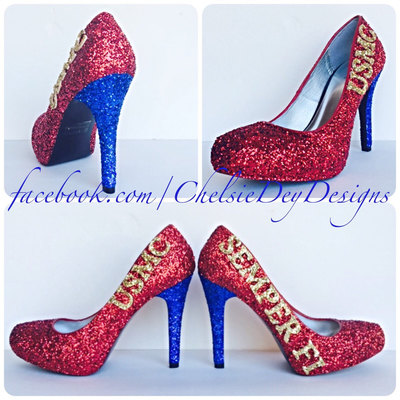 03975b31194 Usmc glitter high heels - red gold royal blue pumps - marine corps semper  fi platform