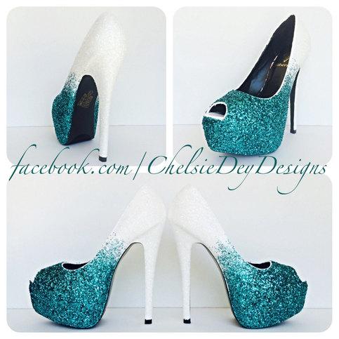 Glitter High Heels - Teal Blue White Ombre Peep Toe Pumps