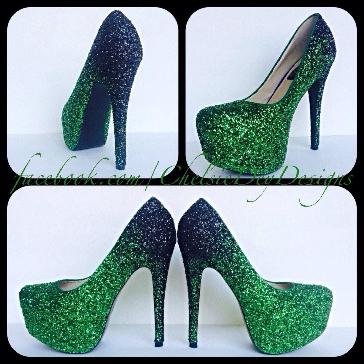 adc3a0d683fb Glitter High Heels, Green Platform Pumps, Sparkle Prom Heels on Storenvy