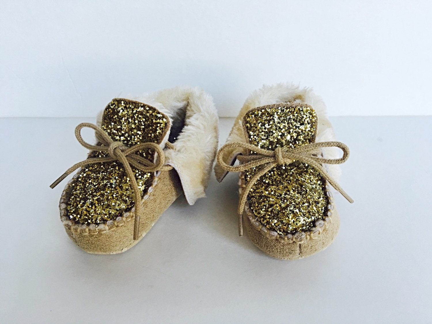 438794578b457 Glitter Baby Shoes - Brown Khaki Baby Boots - Gold Sparkly Shoes - Glitzy  Moccassins - Kids Suede Toddler Shoes
